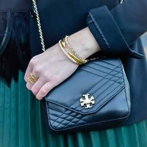 NEW Tory Burch Kira Mini Quilted Black Leather bag